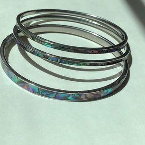3 Sterling Silver and Abalone Bangle Bracelets